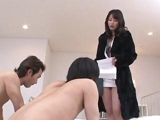 Ayumi Iwasa takes down undies to fuck with several guys