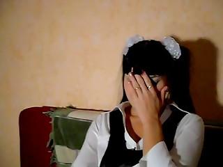 Playing naughty schoolgirl