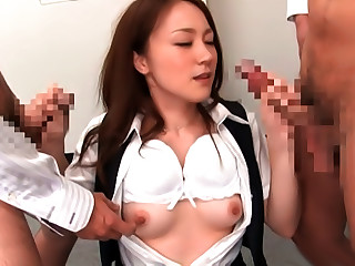 Rin Ayame Horny Asian Office Lady In Cfnm Threesome Video