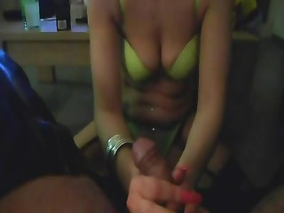 Blonde girlfriend in lingerie has a great time sucking dick