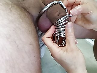 Caged husband eats wife then prostate milked mercilessly