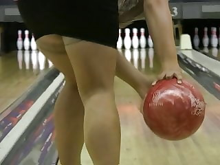 Wife at Bowling  in miniskirt