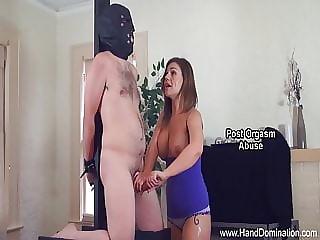 Cheating wife admires hard cock during femdom handjob